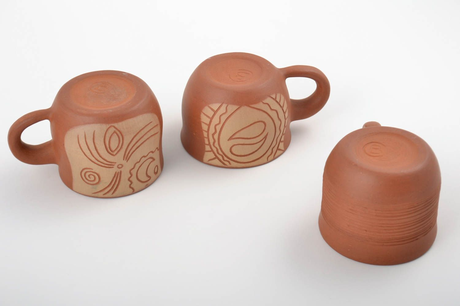 Set of handmade clay cups painted with mineral engobes 3 pieces home decor photo 4