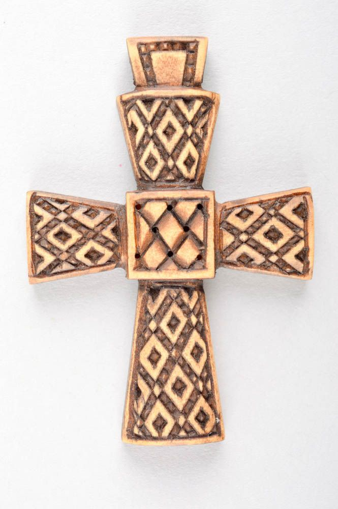Handmade cross designer accessory unusual gift wooden jewelry wooden pendant photo 3