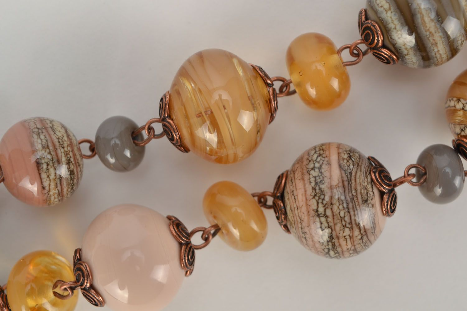 Lampwork glass bead necklace photo 4
