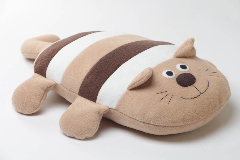 Beautiful handmade beige striped soft pillow pet cat for children photo 3