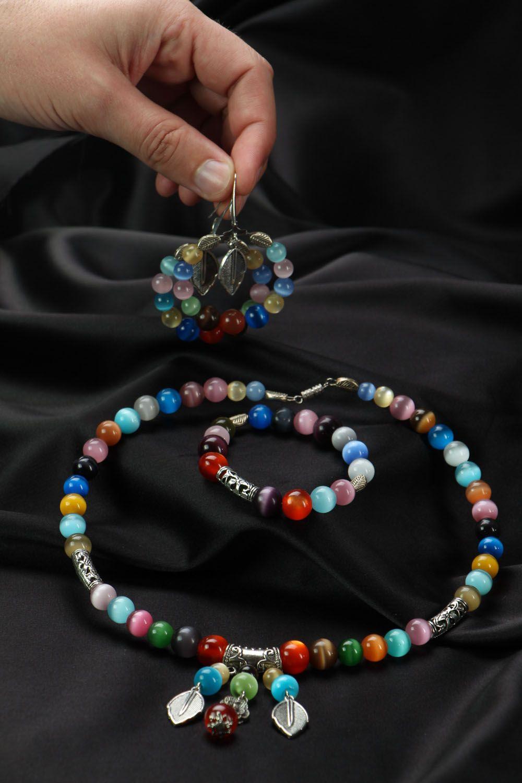 Jewelry set with cat's eye stone photo 4