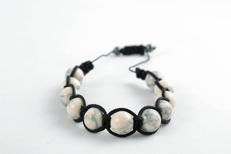 Handmade Armband aus Glasperlen Schwarz weiß foto 4