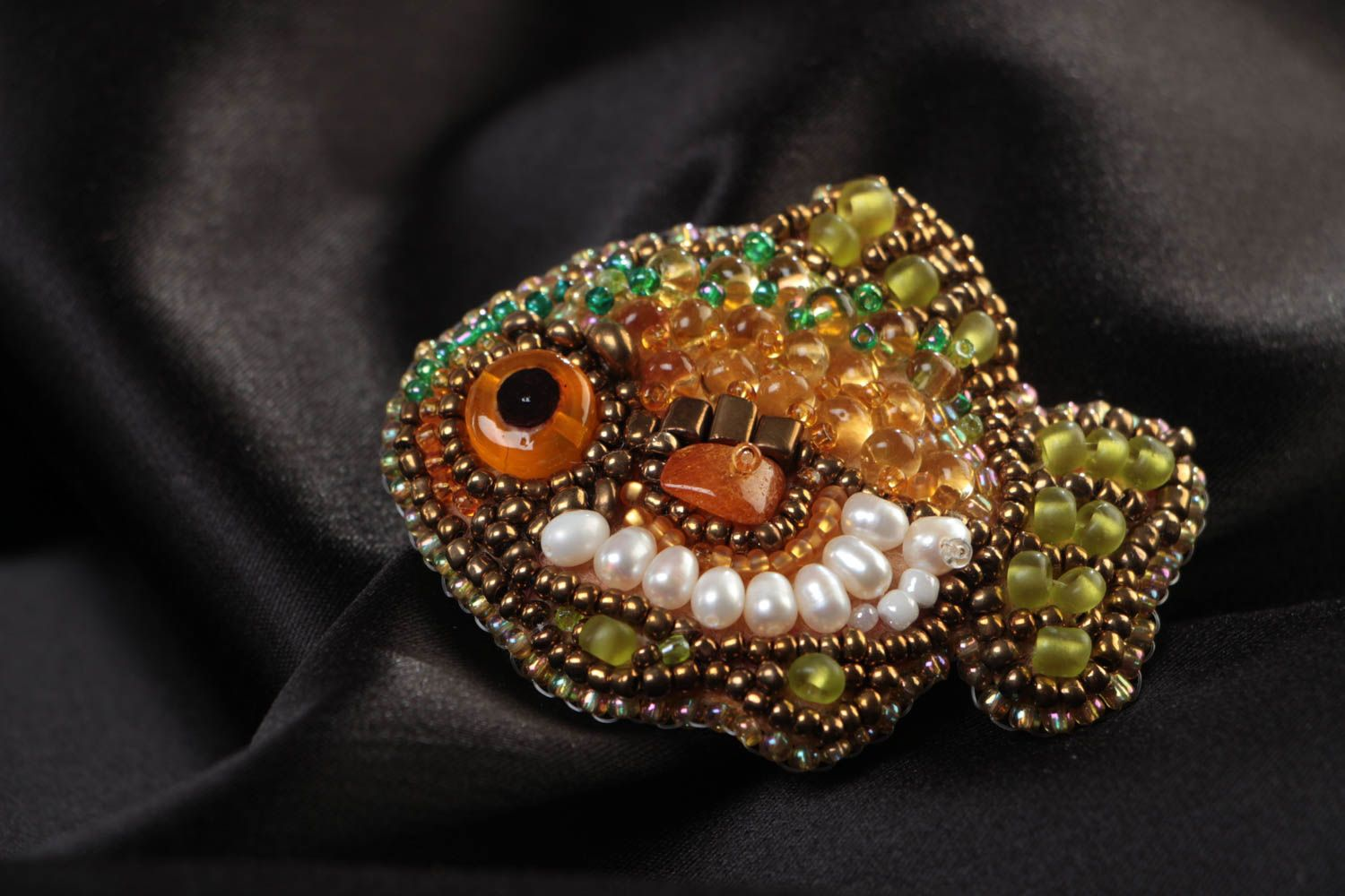 Small handmade designer brooch with bead embroidery and amber Fish photo 1