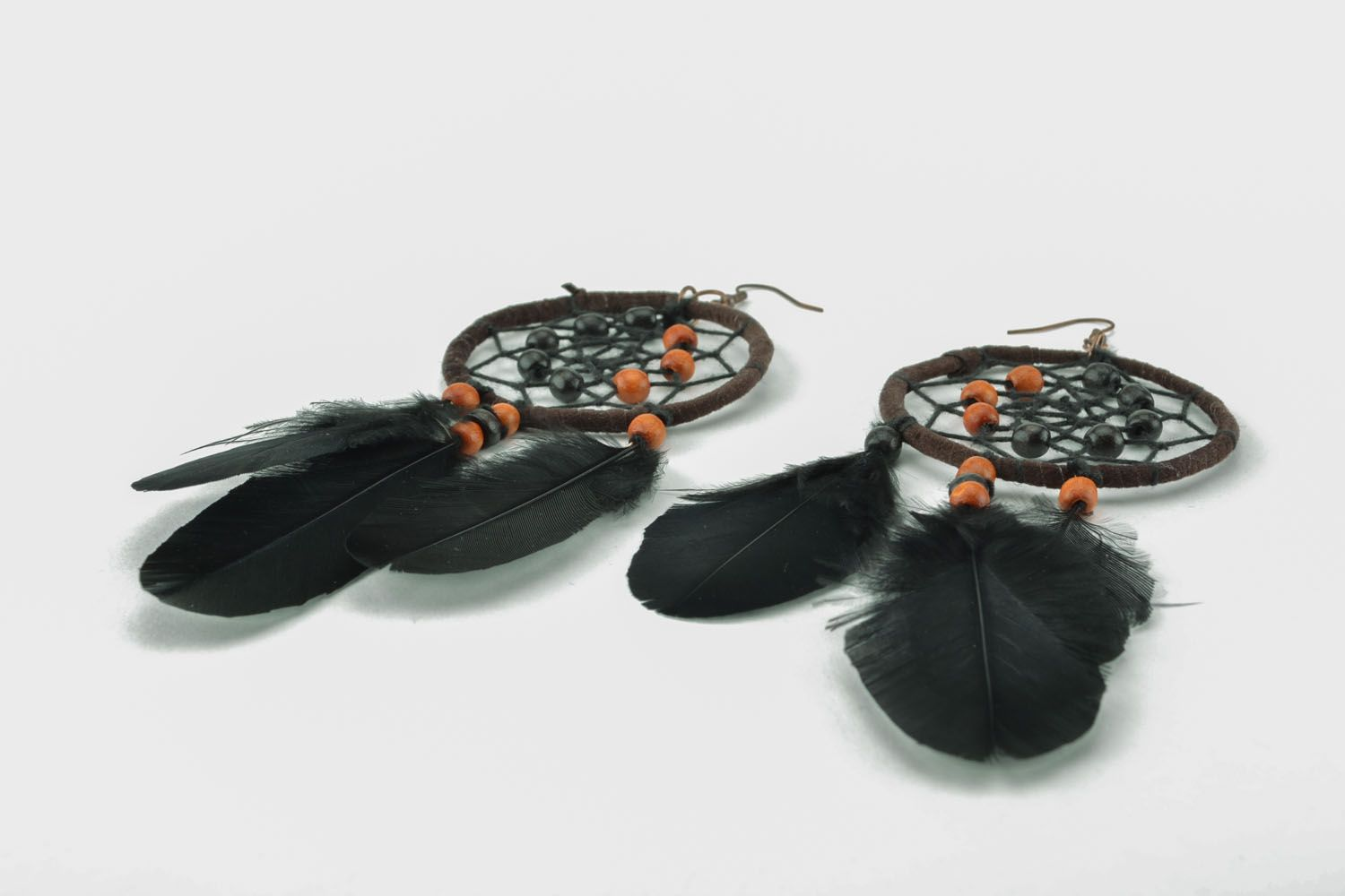 Homemade earrings in the shape of Dreamcatchers photo 2