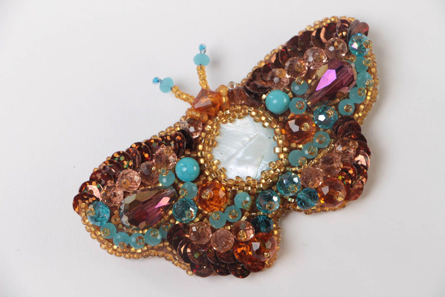 Handmade brown brooch with bead embroidery and nacre Large Butterfly photo 2