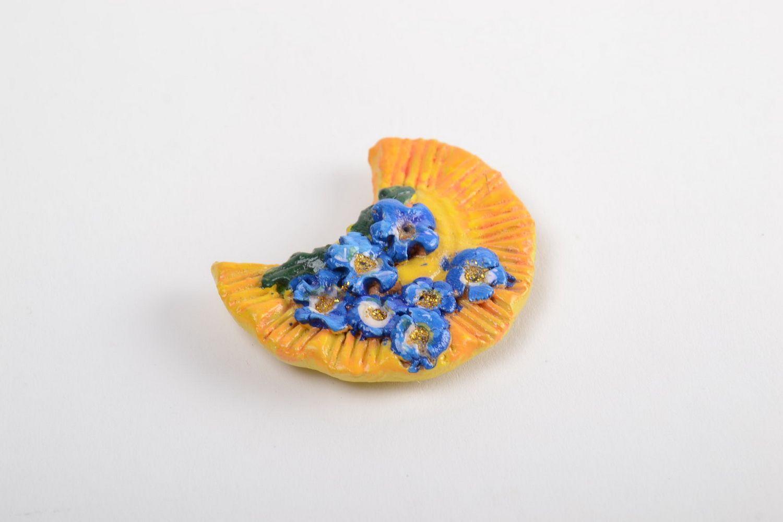 Handmade designer souvenir stylish ceramic fridge magnet cute interior decor photo 2