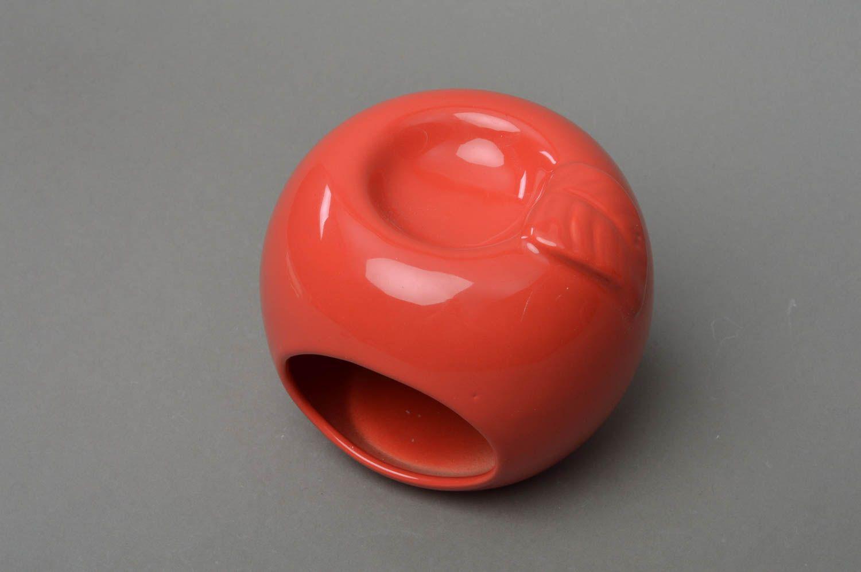 Unusual beautiful cute handmade red porcelain aroma lamp in shape of apple photo 1