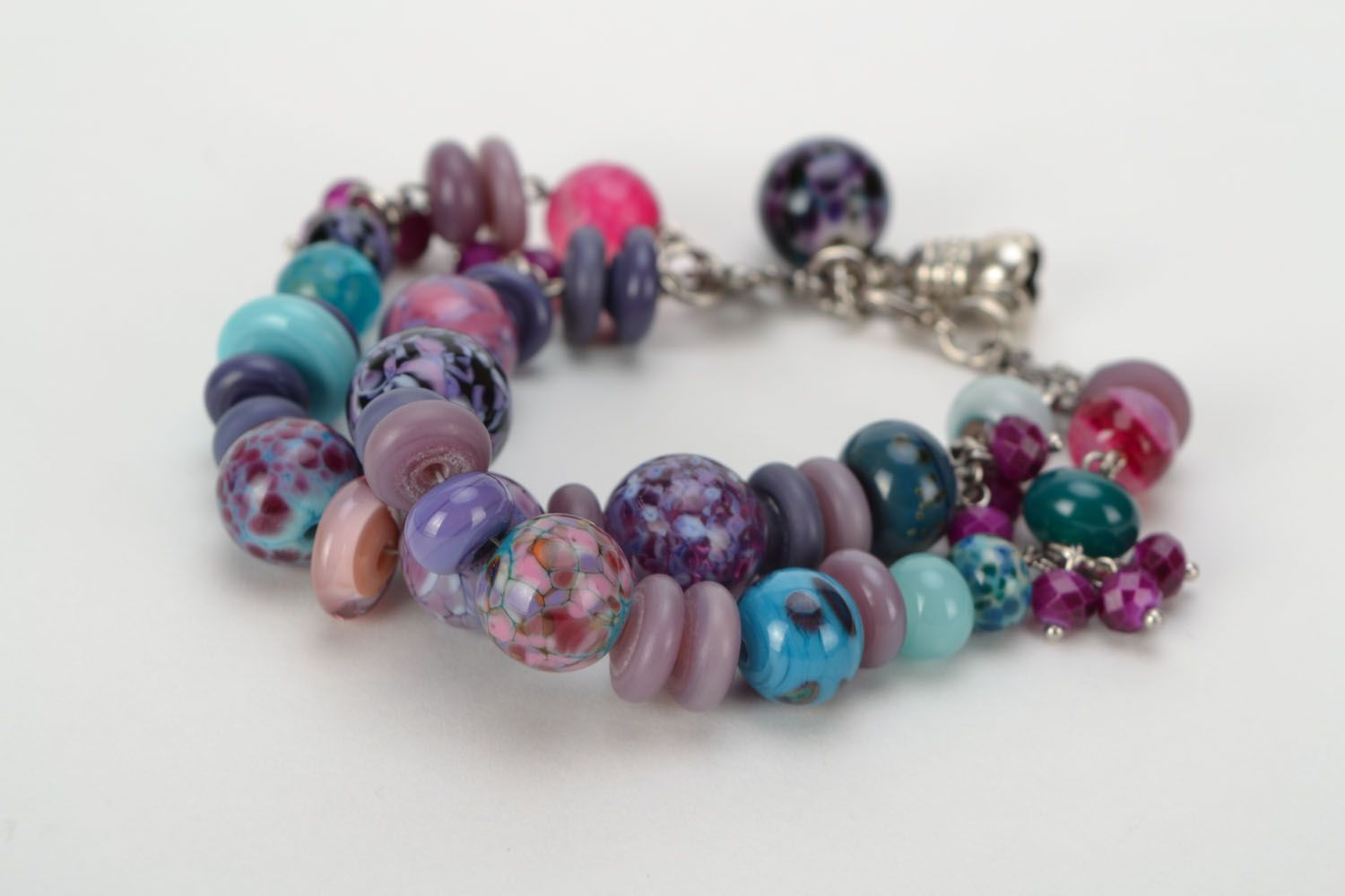 Double-row bracelet with lampwork beads photo 4