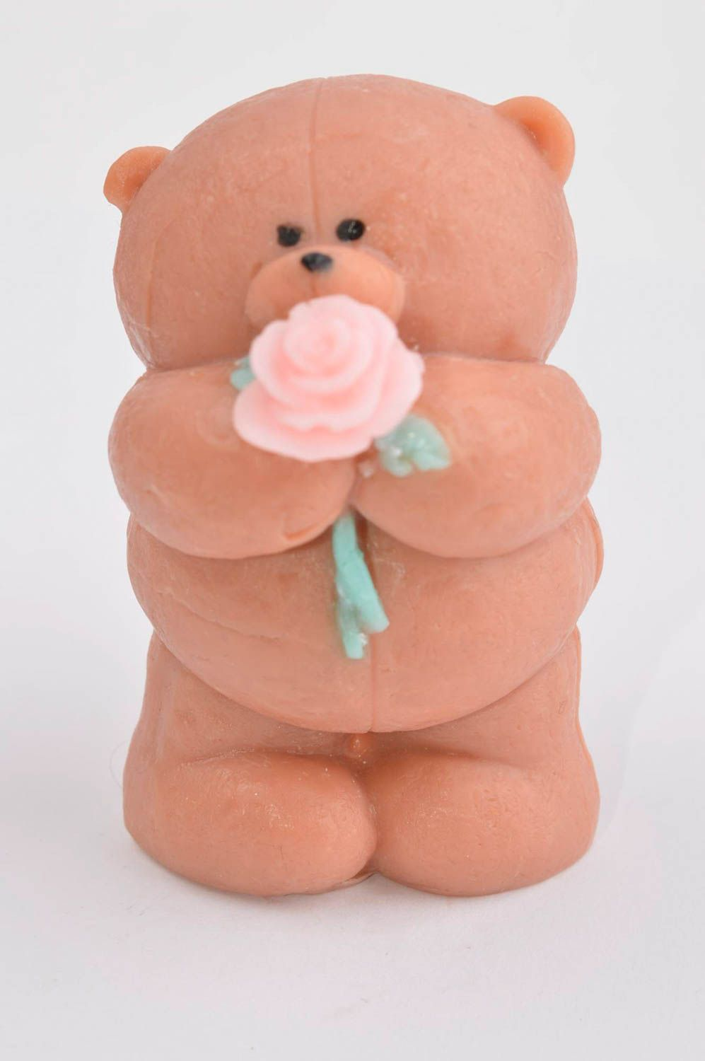 Handmade soap natural soap teddy-bear with rose natural cosmetic aroma soap photo 2