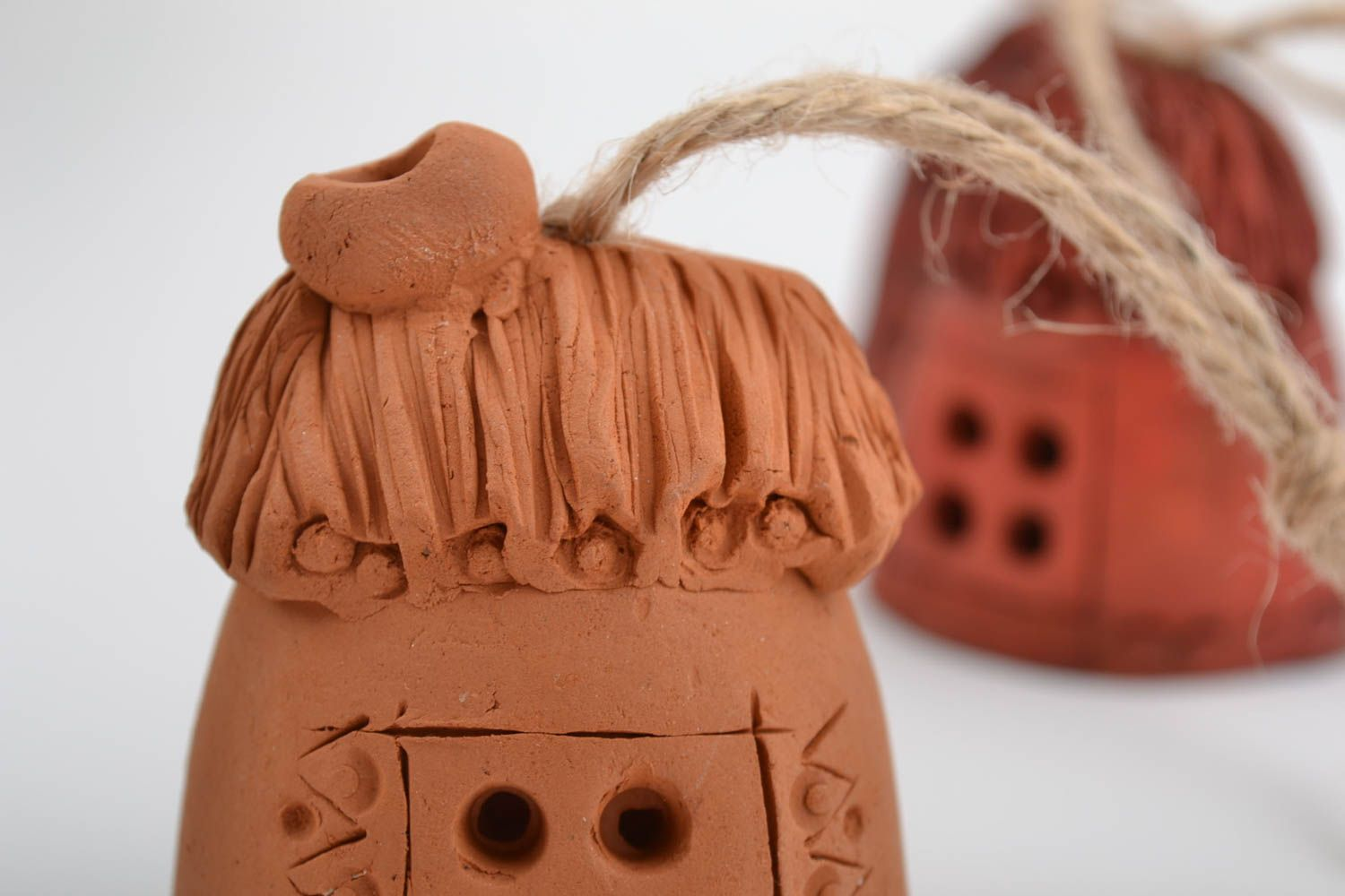 Set of small handmade wall hanging ceramic ethnic bells with cords Houses photo 4