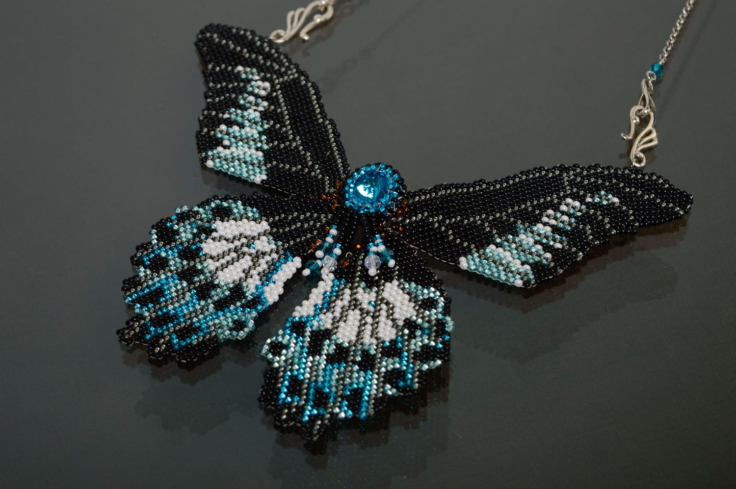 Butterfly shaped beaded necklace with chain photo 1
