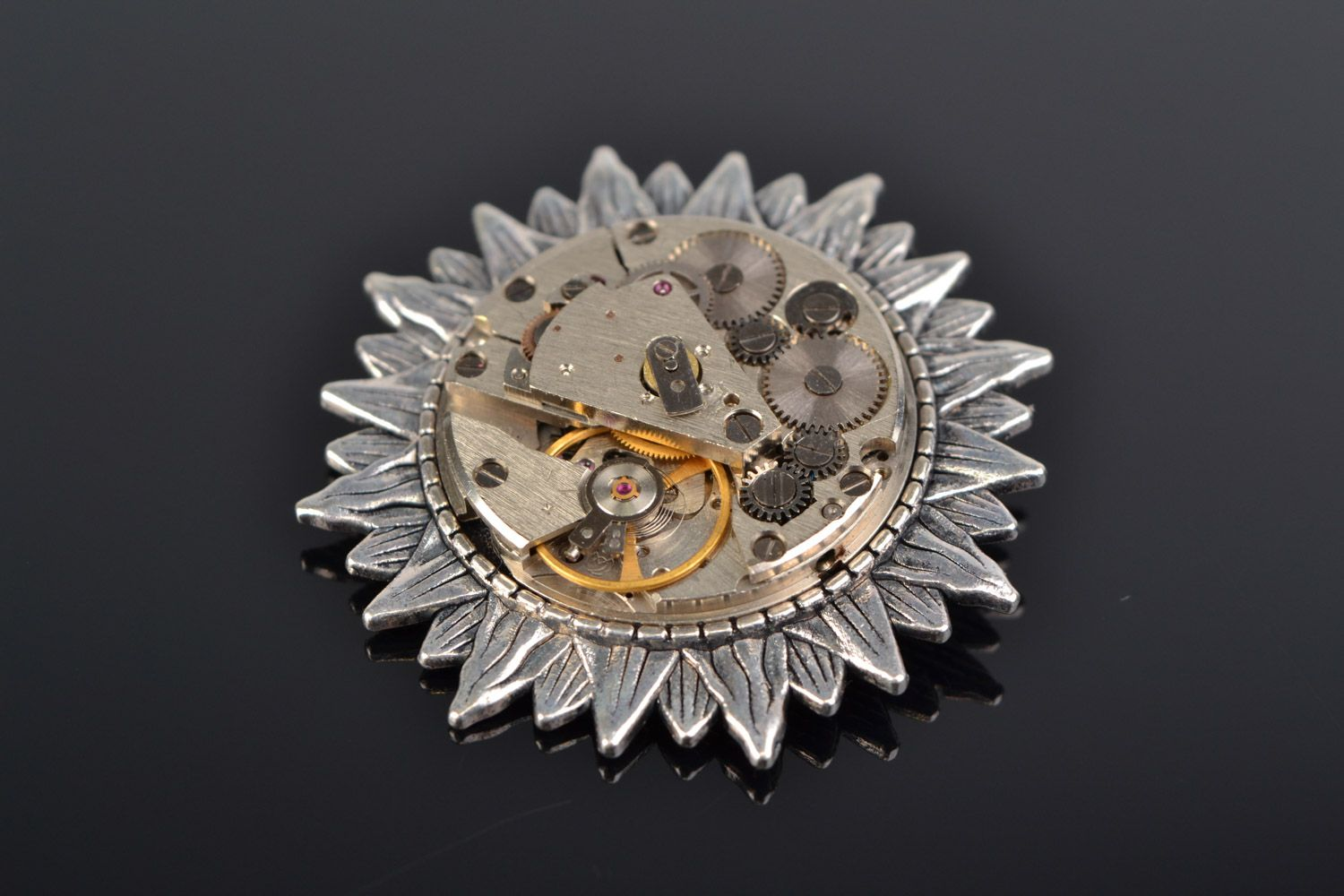 Handmade round brooch with metal basis and clock mechanism in steampunk style photo 1