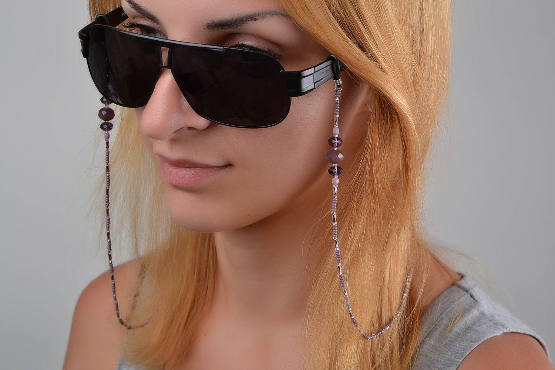 mieux choisir service durable faire les courses pour Chaine pour lunettes fait main Cordon lunettes mauve stylé original Cadeau  femme
