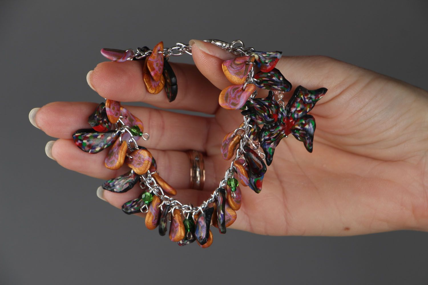 Bracelet with polymer clay charms photo 5