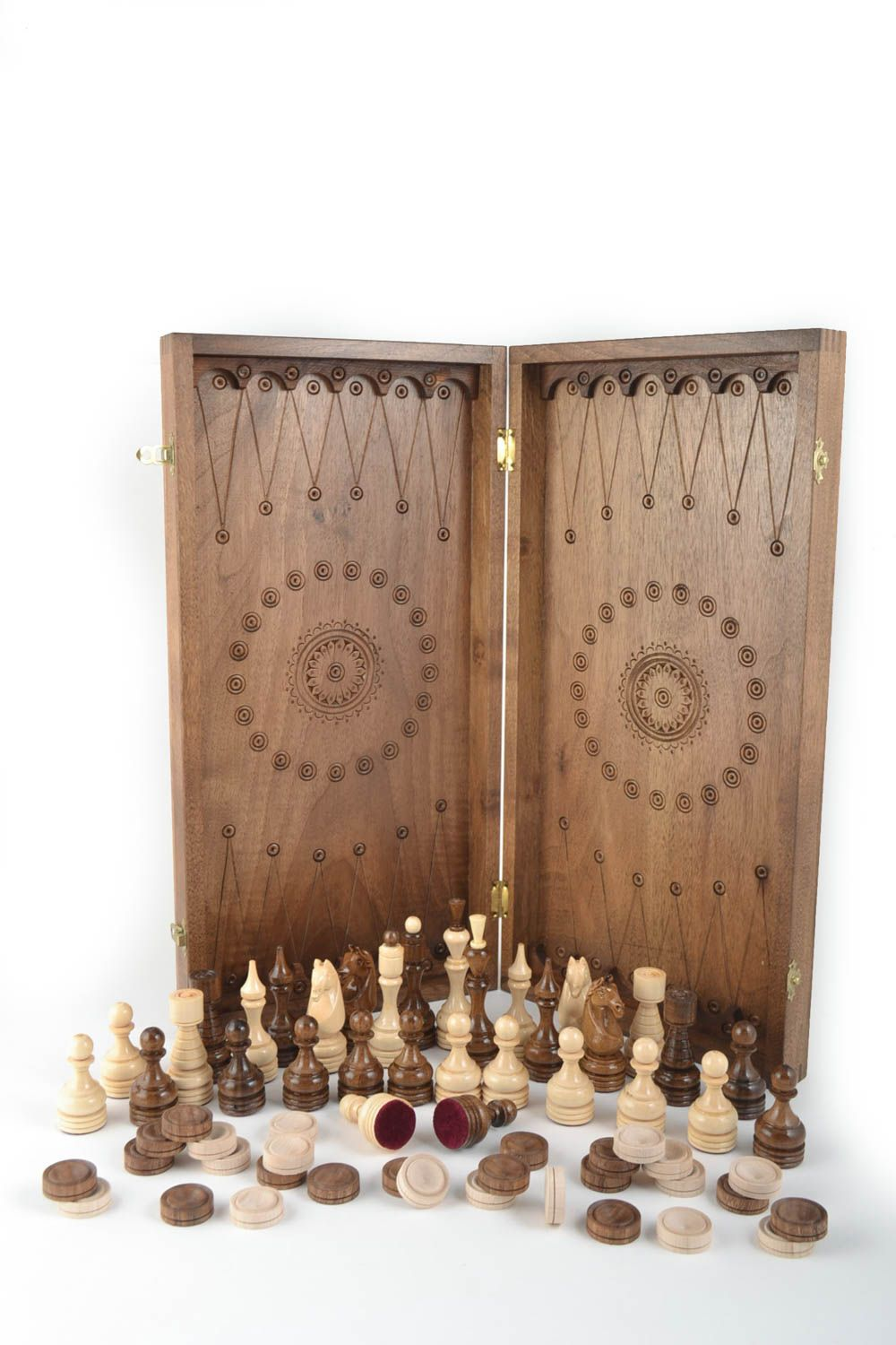 Handmade board games wooden chessboard chess pieces best gifts for him photo 2