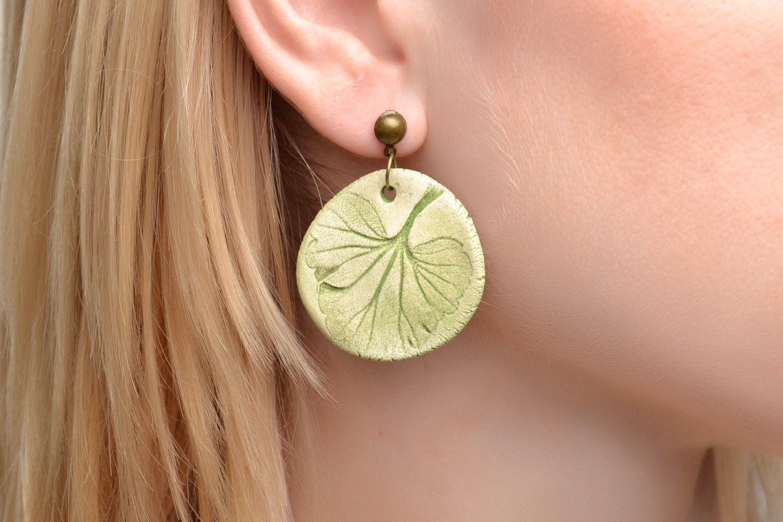 Ceramic round earrings photo 2