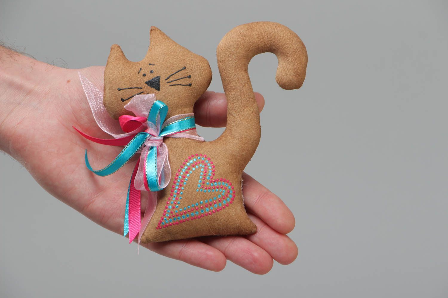 Handmade scented textile soft fridge magnet in the shape of cat photo 5