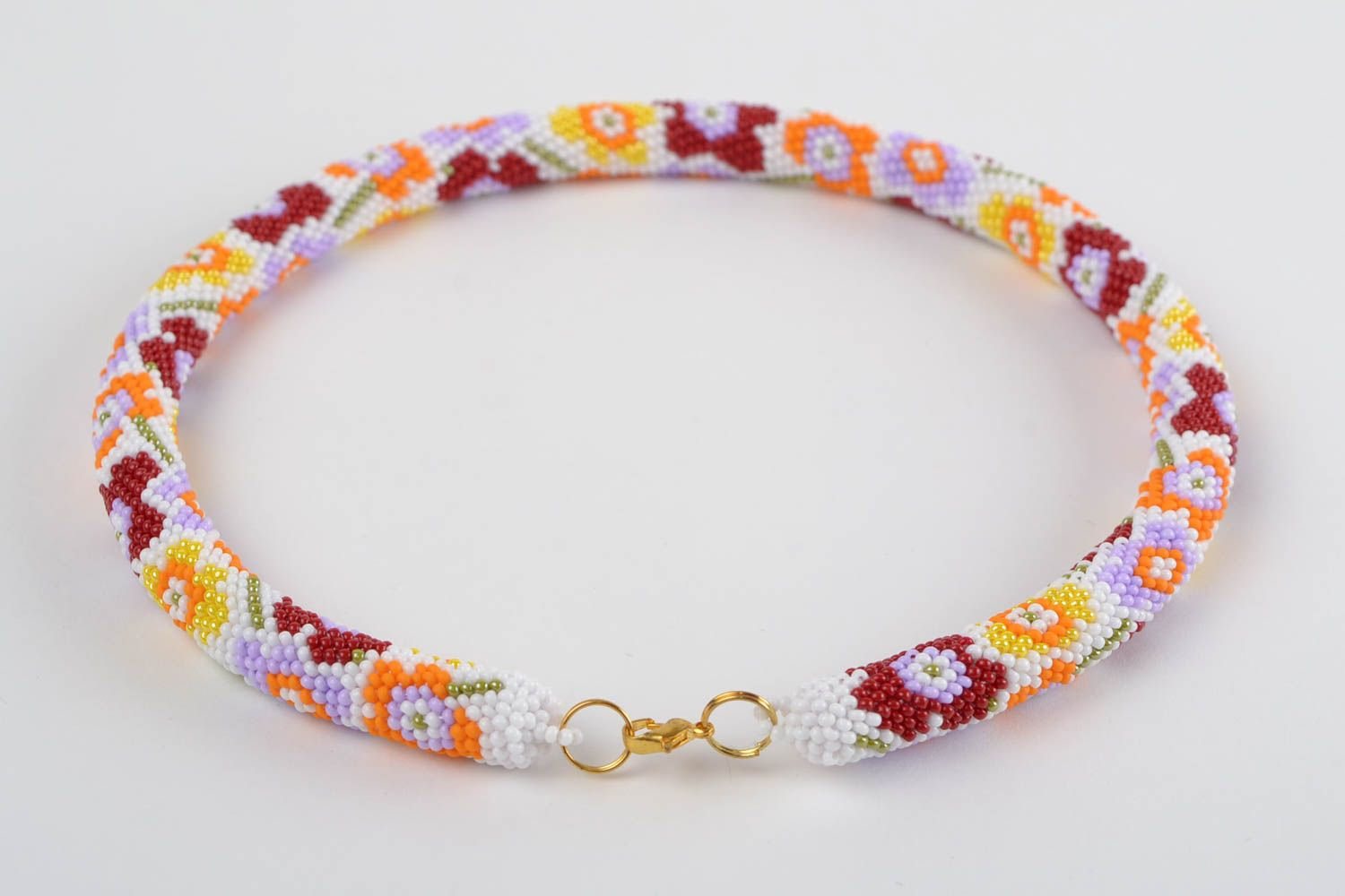 Handmade beaded cord necklace seed beads necklace stylish accessory for women photo 5