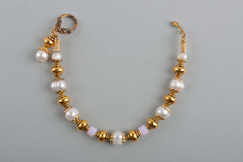 Украшения ручной работы серьги из жемчуга женский браслет с латунью красивые фото 4