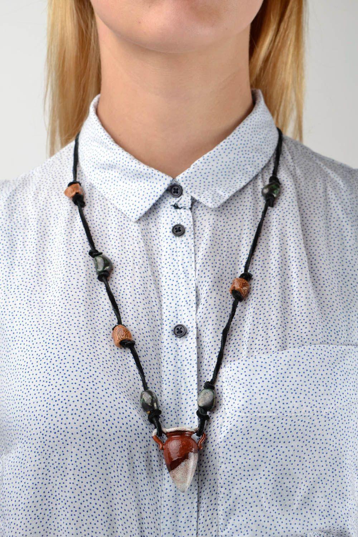 Handmade pendant ceramic pendant deisgner accessory unusual gift for girl photo 2
