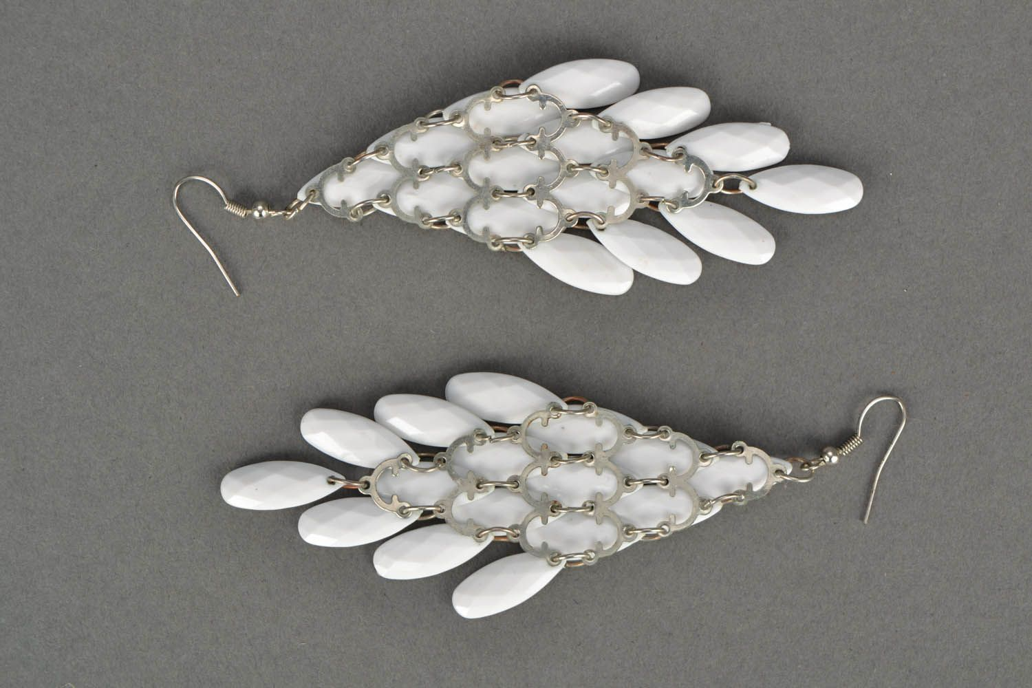 Earrings made of plastic beads Feathers photo 4