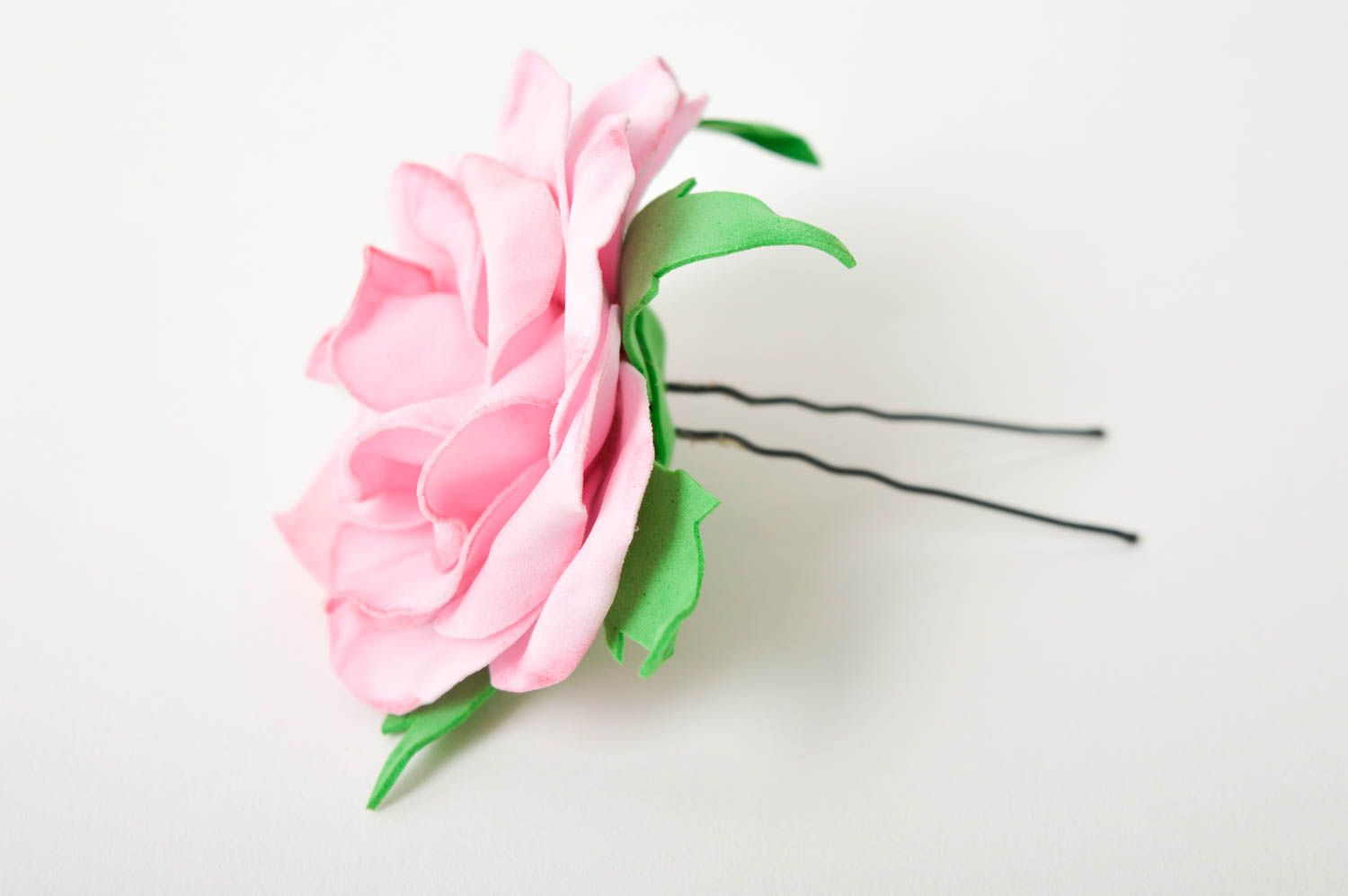 Handmade hairpin with flower foamiran hairpin hair accessories for women photo 4
