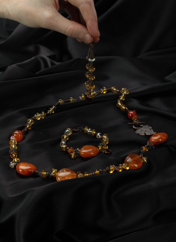 Набор янтарных украшений фото 4