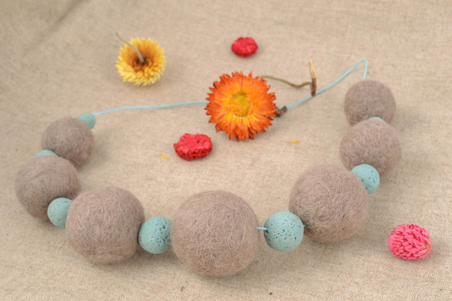 Wool and polymer clay necklace photo 1