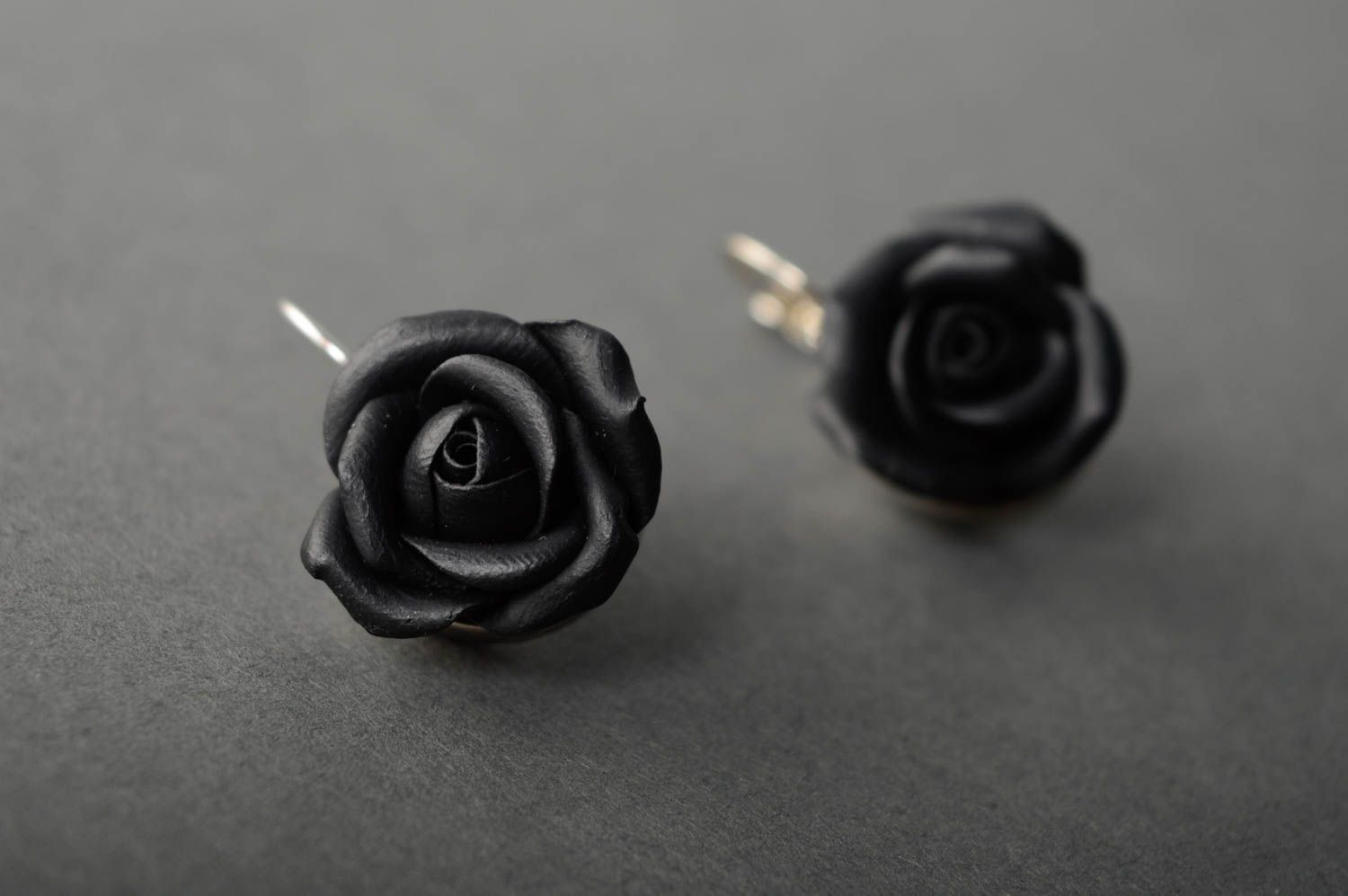 Polymer clay earrings Roses photo 2
