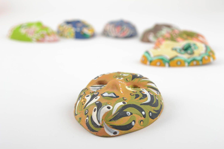 Set of 7 handmade designer souvenir ceramic fridge magnets venetian masks photo 4