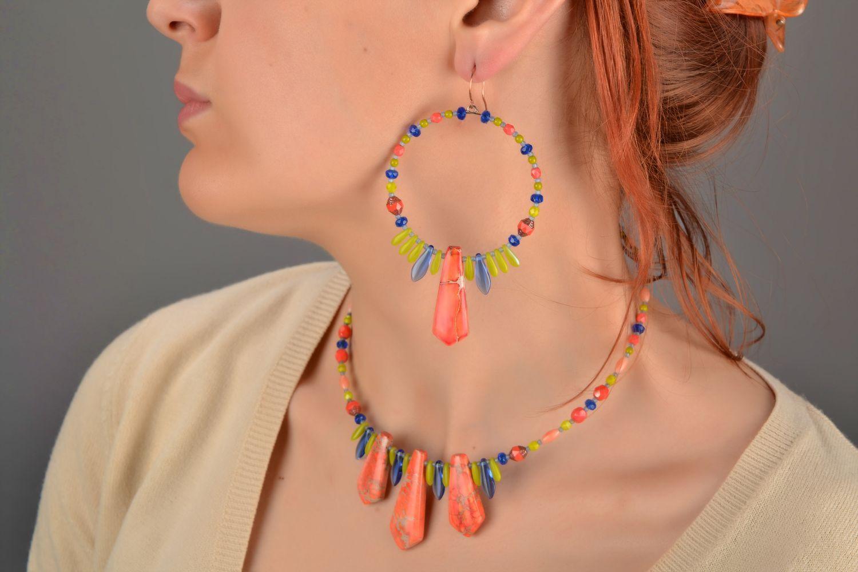 Handmade designer Czech glass necklace with variscite for summer photo 2