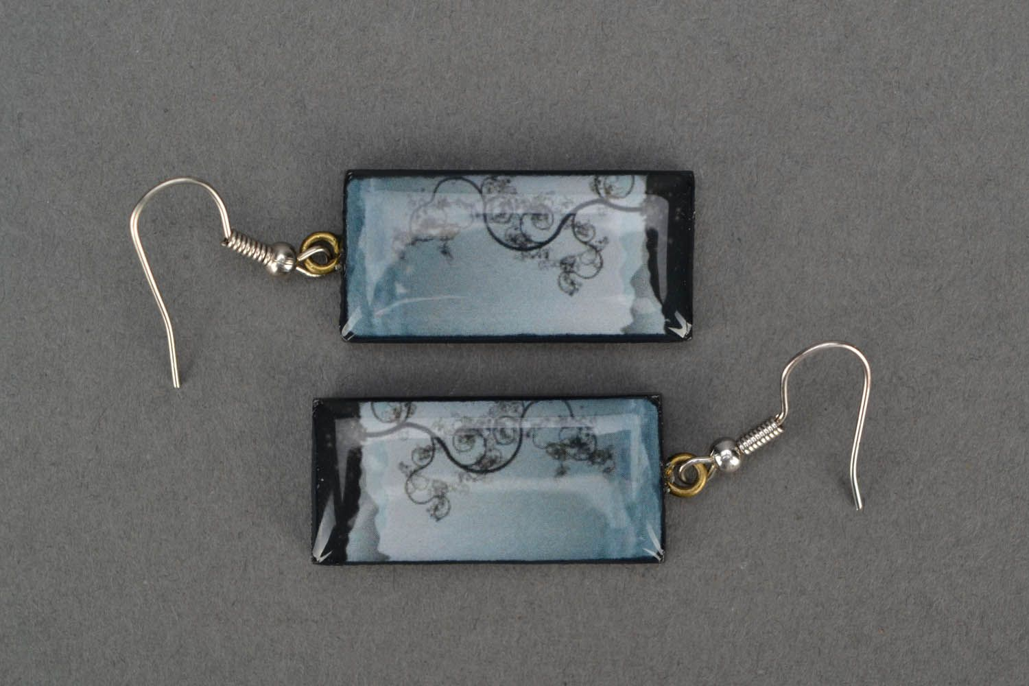 Rectangular earrings The Tree of Knowledge photo 3