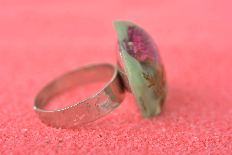 Handmade epoxy resin ring unusual feminine ring elegant jewelry for women photo 2