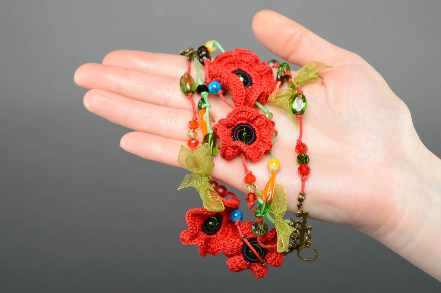 charm bracelets Red bracelet with crochet flowers - MADEheart.com