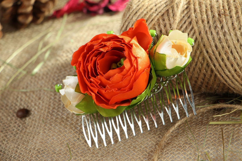 Satin hair clip with flowers photo 5