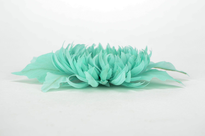 Handmade chiffon brooch Turquoise Aster photo 4