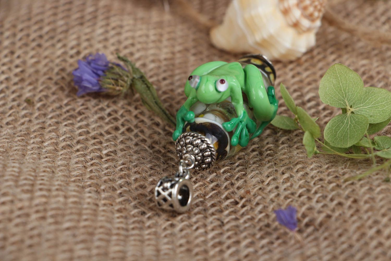Handmade glass pendant Frog photo 3