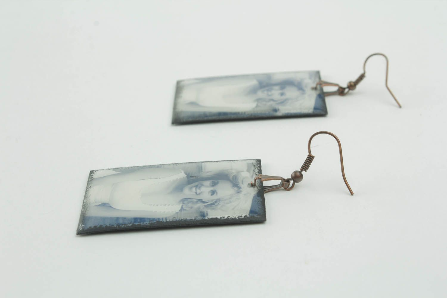 Rectangular earrings with photo print photo 1