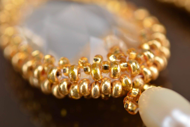 pendientes gotas Pendientes largos de abalorios y cristales grandes hermosos dorados artesanales , MADEheart.com
