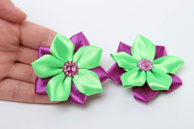 Заколки канзаши ручной работы детские украшения аксессуары для волос яркие фото 5