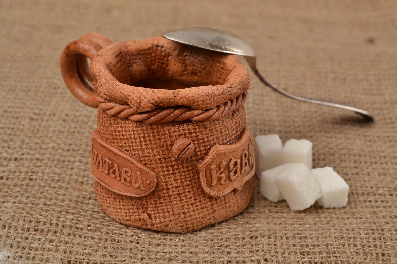 Madeheart taza para caf de arcilla blanca artesanal for Arcilla para ceramica