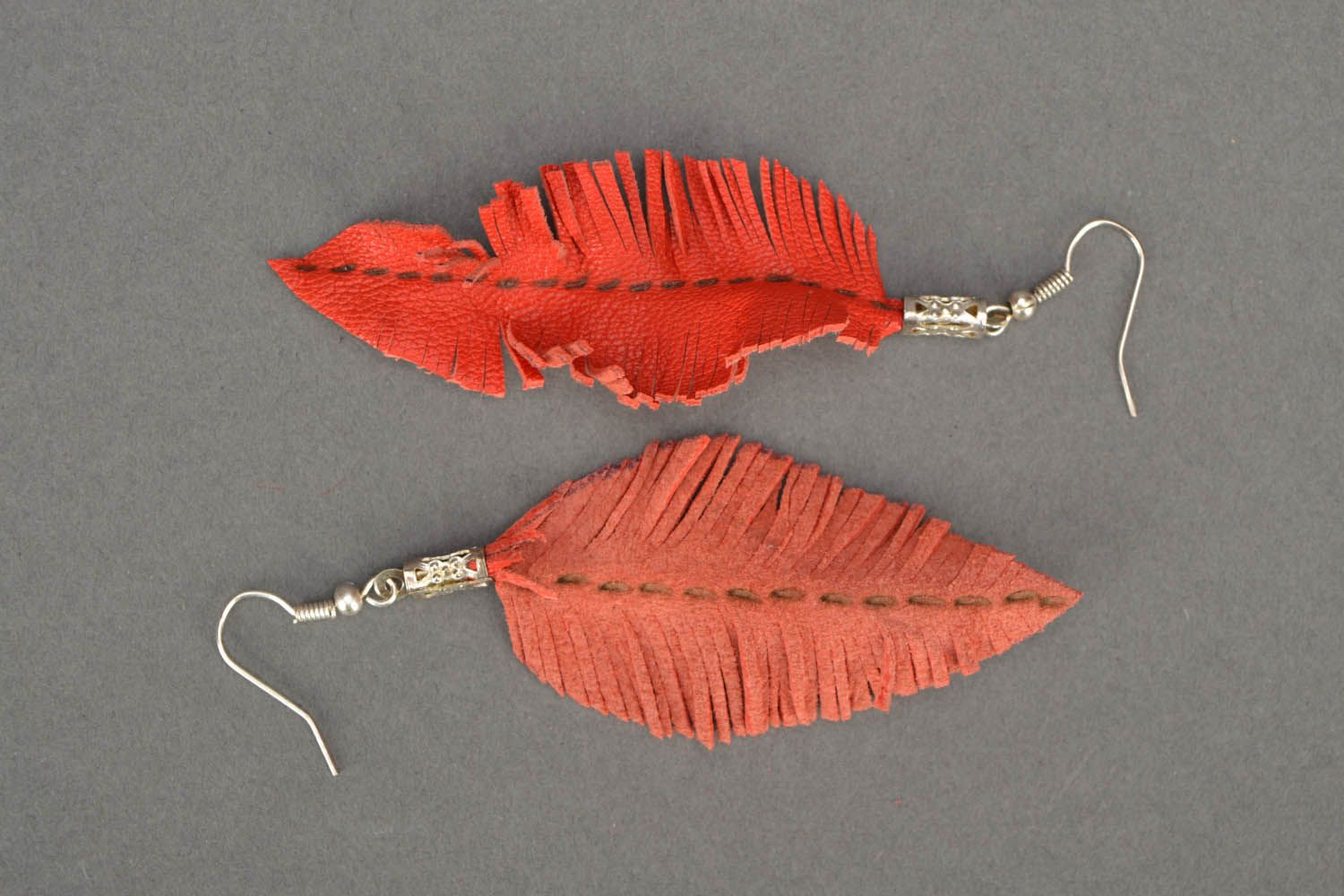 Leather earrings Leaves photo 4
