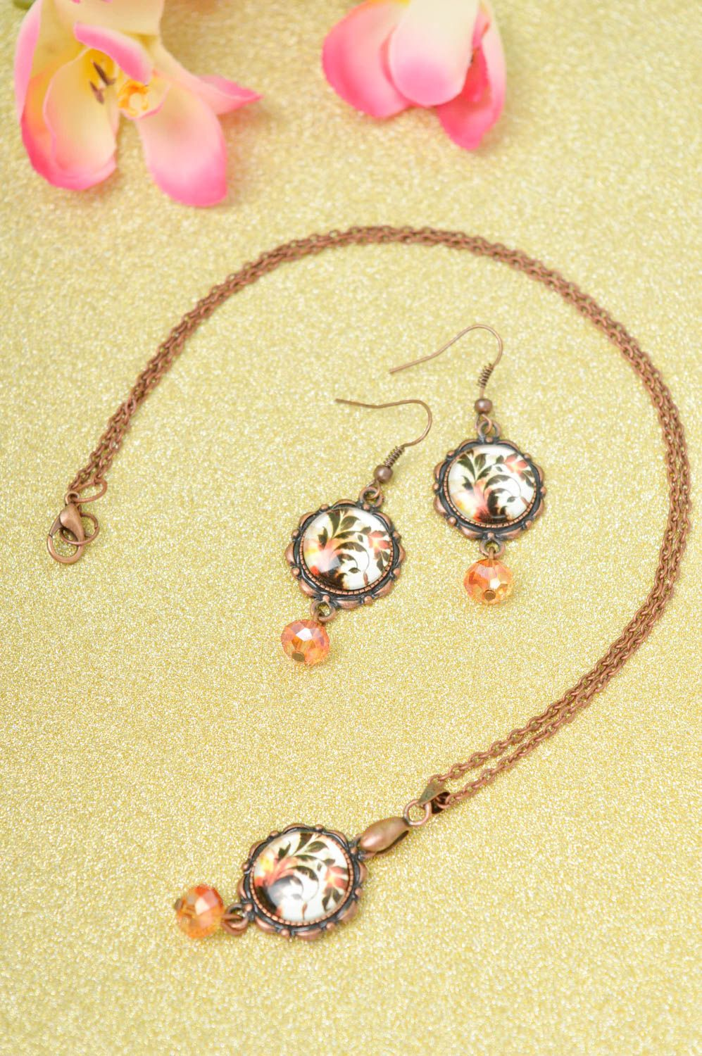 Handmade metal jewelry set glass bead earrings pendant necklace gifts for her photo 1