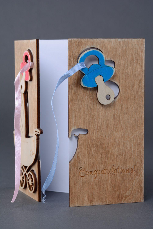 Beautiful unusual plywood greeting card with newborn photo 1