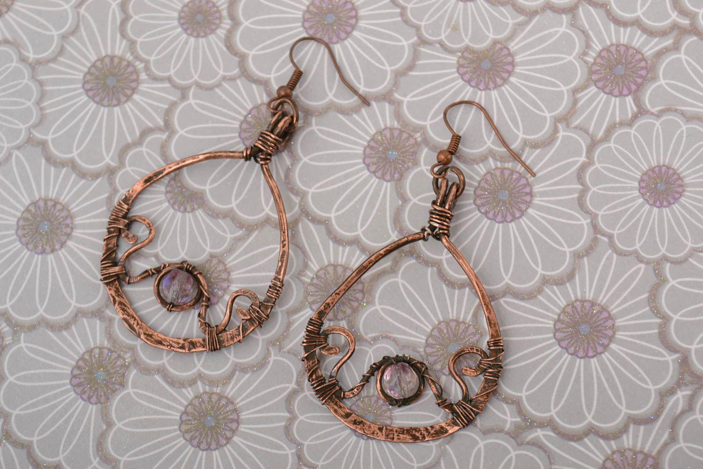 Handmade earrings copper accessory gift ideas unusual earrings for girl photo 1