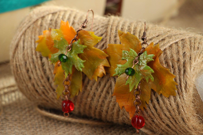 Ohrringe aus Polymerton Herbstblätter foto 3