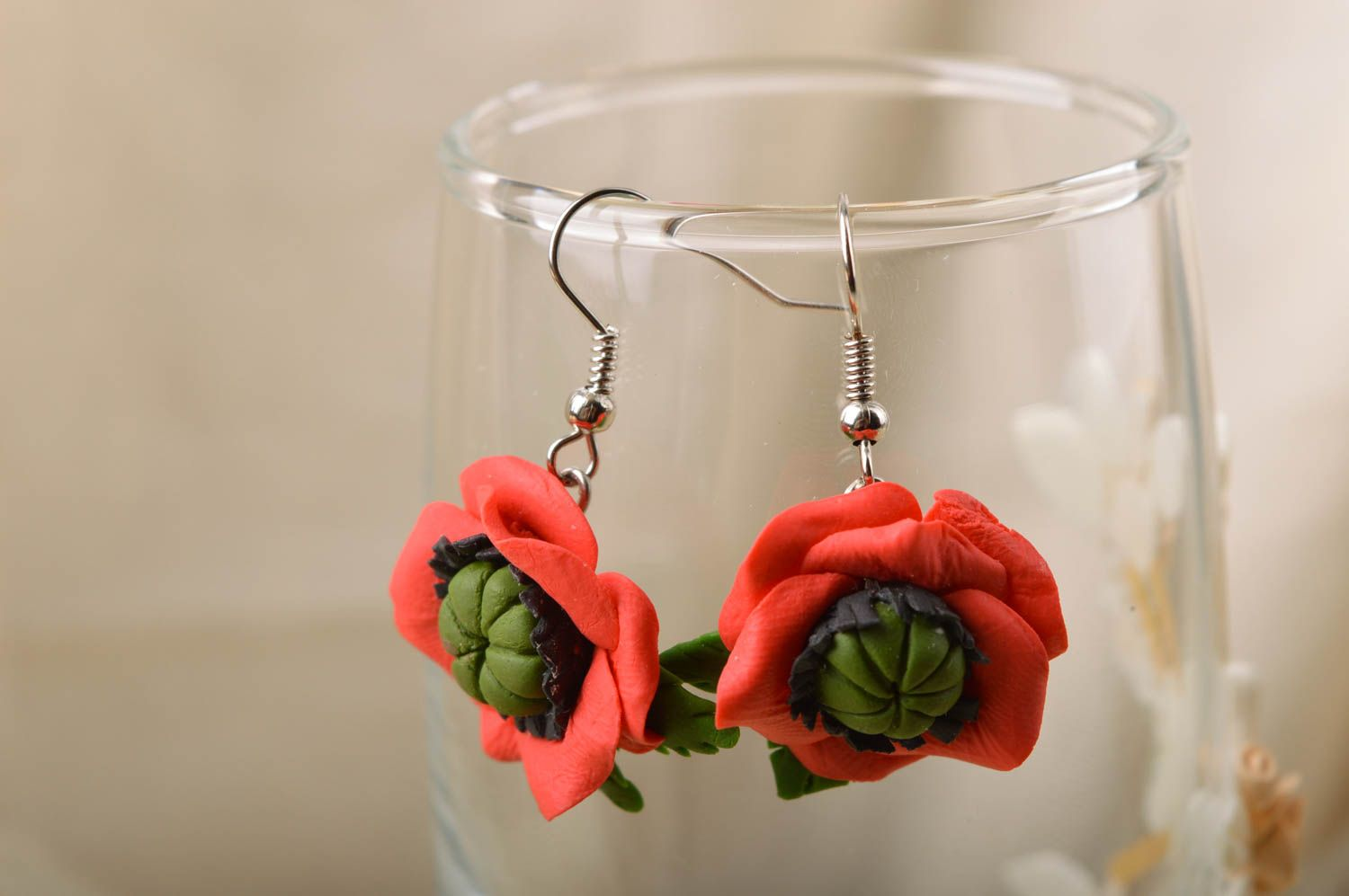 Handmade designer floral cold porcelain dangling earrings red poppies photo 1