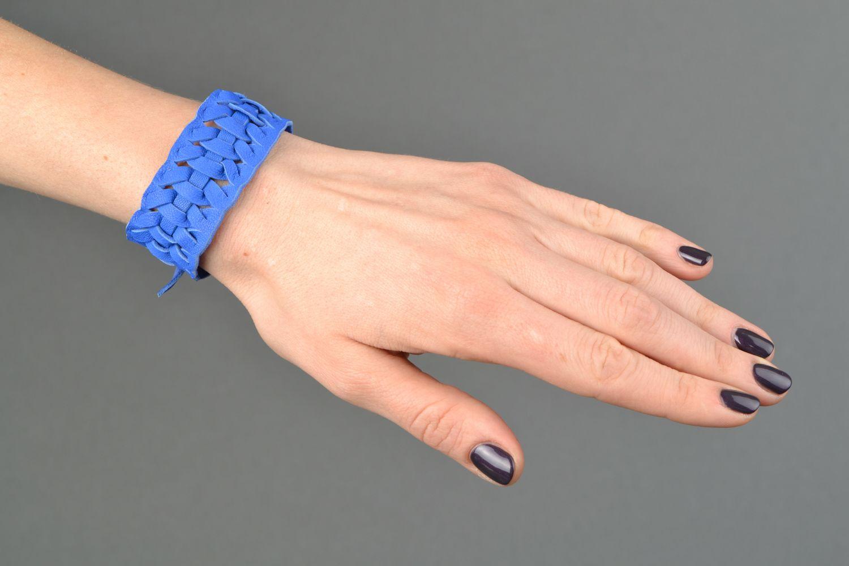 Blue woven genuine leather bracelet Electric  photo 2