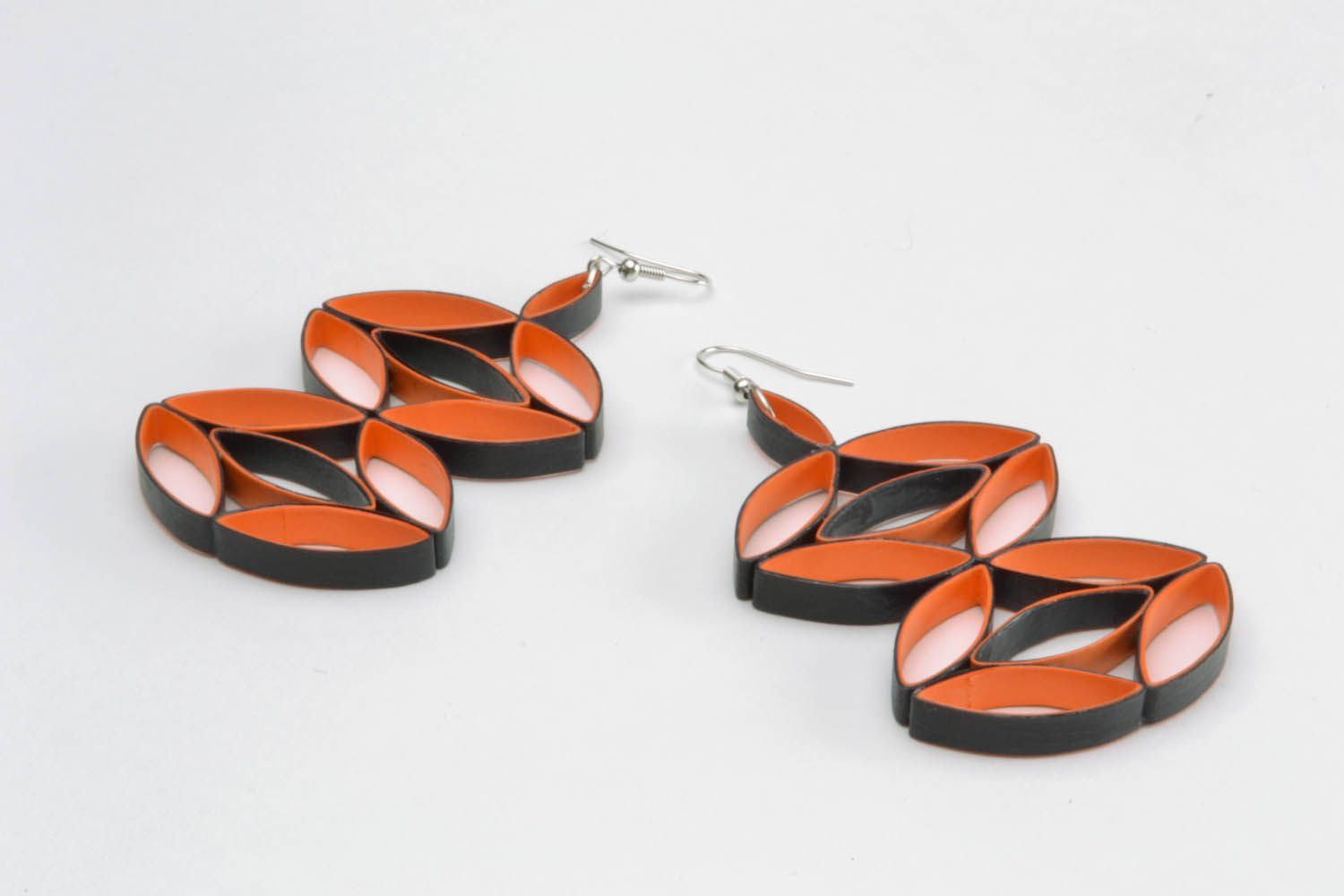 Large earrings made of quilling paper photo 4