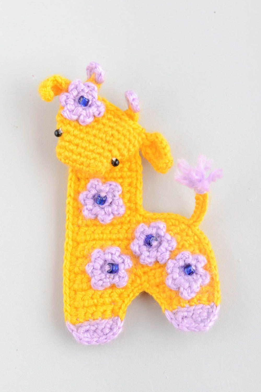 Handmade decorative soft crocheted magnet toy yellow Giraffe with flowers  photo 2